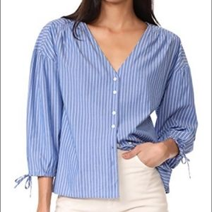 Madewell Morningview Blue Striped Blouse